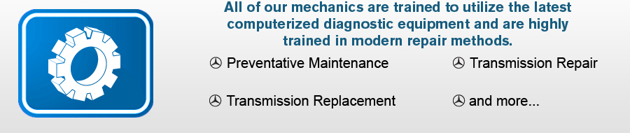 All of our mechanics are trained to utilize the latest computerized diagnostic equipment and are highly trained in modern repair methods.  Preventative Maintenance, Transmission Replacement, Transmission Repair, and more...